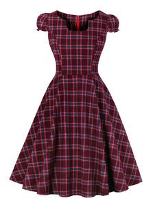 Vestido xadrez vermelho do vintage u pescoço vestido de manga curta de algodão retro