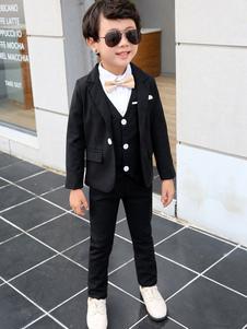 Ring Bearer Suits Boys Wedding Outfit Tuxedo Black Kids Formal Wear 4 Piece Set