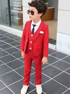 Portador do anel se adapte às roupas de casamento vermelho meninos smoking trajes formais 4 peça conjunto