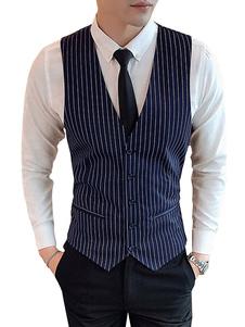 Homens Vestido Gilet Stripe V Neck Tuxedo Bolso Botão Colete