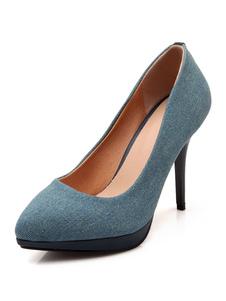 الكعوب العالية الأزرق الدينيم وأشار اصبع القدم خنجر كعب الانزلاق على أحذية النساء أحذية