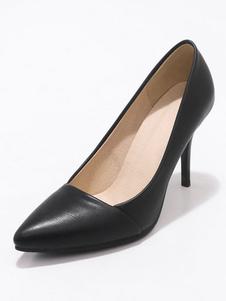 Negro Zapatos de Tacón Alto 2020 Zapatos de Vestido de Mujer Talla Extra Punta Puntiaguda Slip On Pumps