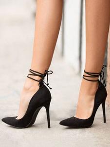 Черный Высокие каблуки Женщины Замша с указательным пальцем на шнуровке вверх Насосы Сексуальная обувь