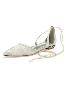 Свадебная обувь из слоновой кости Mesh Pointed Toe Floral Detail Lace Up Свадебная обувь Плоская обувь для подружки невесты