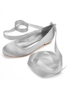 Zapatos de novia de satén 1.5cm Zapatos de Fiesta Zapatos plateado  Plana Zapatos de boda de puntera redonda con cinta