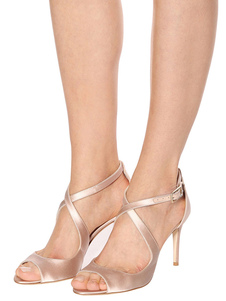 Zapatos Nude Party Satin Peep Toe Criss Cross Zapatos de noche Sandalias de tacón alto para mujeres
