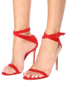 Sandálias de Salto Alto Vermelho Camurça Cova Aberta Toe Tornozelo Sandália Sapatos Mulheres Sapatos Vestido