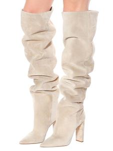 Stivali Slouch da Donna 2020 in Pelle Scamosciata con Patta a Punta Tacco Alto sopra il Ginocchio Stivali Stivali Alti in Pelle Di Vitello Beige