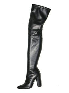 أسود فوق الركبة أحذية نسائية أشار تو أحذية عالية الكعب الفخذ العليا