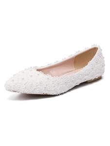 أحذية الزفاف الأبيض الرباط أشار تو بيرل أحذية الزفاف المسطحة