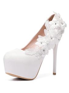 Scarpe da sposa bianche con plateau e fiori di mandorla con perline scarpe da sposa con tacco alto