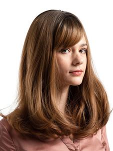 Perucas de cabelo castanho mulheres perucas de cabelo longo reta bob com franja