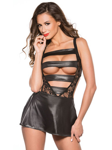 Сексуальное платье для клуба Black Cut Out Leather, как кружево Sheer Giong Out Mini Dress