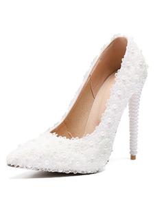 Scarpe da sposa bianche Scarpe da sposa con tacco alto e perle in pizzo