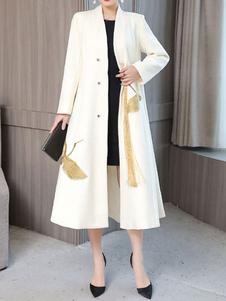 abrigo mujer marfil con manga larga con cuello en V de poliéster de dos tonos Moda Mujer con bordado étnica Invierno Chaquetas