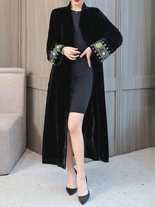 Cappotto invernale ricamato etnico con collo a V donne nero con collo a velluto