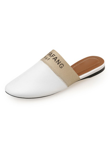 ミュール サンダル PU ホワイト  ラウンドトゥ 0.5cm フラットヒール シューズ アルファベット柄 スリップオン ストリートウェア カジュアル レディース靴