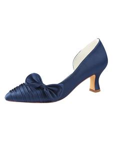 حذاء زفاف من الساتان حذاء كحلي غامق مدبب واشار حذاء بكعب منخفض2020
