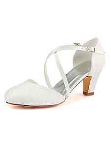 Sapatos de casamento do vintage marfim rendas Toe Criss Criss Cross sapatos de noiva