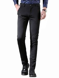 Pantalón de vestir negro Pantalón de trabajo Serge Pantalón de pierna recta para hombres