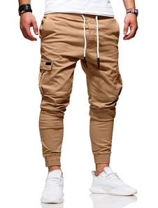 Pantalón de chándal para hombre Pantalón caqui cargo Pantalón con ajuste de bolsillo con cordón