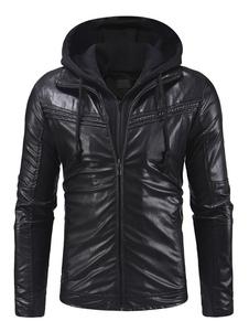 Мужская кожаная куртка с капюшоном с застежкой-молнией с капюшоном под фальшивку 2 шт. Ruched Black Biker Jacket
