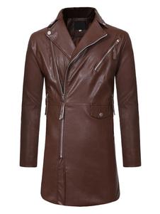 Мужчины Кожаные пальто Surplice Zipper Trench Coat PU с длинным рукавом Повседневное зимнее пальто