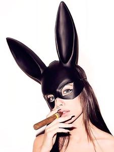 Costume Carnevale Sexy Bunny Girl Mask Costume Coniglio Orecchio Face Masquerade Black Halloween Accessori Cosplay