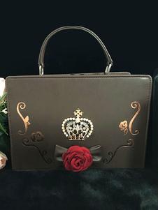 كلاسيك لوليتا حقيبة يد حجر الراين زهرة بو حقيبة لوليتا السوداء