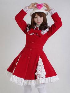Sweet Lolita Overcoat Lace Trim Ruffle Bow Wool Lolita Abrigo de invierno