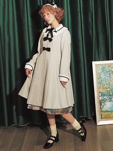 الكلاسيكية لوليتا معطف الدانتيل القوس جمل الصوف لوليتا معطف