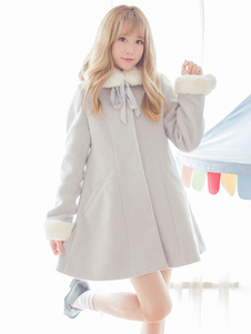 Sweet Lolita Coat Furry Collar Pom Pom Grey Wool Lolita Шинель