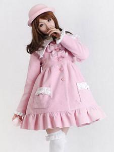 Abrigo de invierno de Lolita dulce Lolita abrigo de encaje con volantes Rosa Lolita