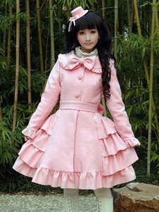Sweet Lolita Wool Coat Bow Layered Ruffle Pink Lolita Зимнее пальто