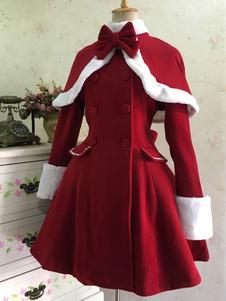 كلاسيك لوليتا معطف الصوف القوس مزدوجة الصدر معطف فرو فروي لوليتا الشتاء