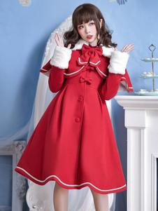 Abrigo de invierno dulce de Lolita abrigo de lana plisada Lolita con capa
