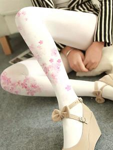 Branco Lolita Meia Sakura Velvet 480D Inverno Lolita Meia-Calça