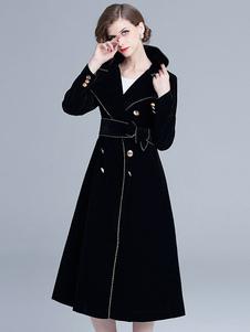 معطف أسود القطيفة كي طوق أزرار أزرار الأنابيب معطف الشتاء