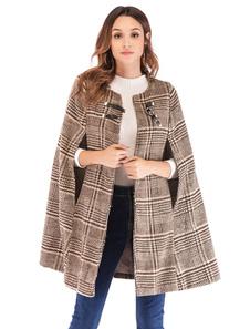Cappotto di poncho scozzese da donna Cappotto di mantello invernale da tweed di tweed