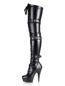 Черные сексуальные сапоги Женская платформа Пряжка Подробнее Кружева над сапогами на коленках Высокие каблуки Высокие сапоги