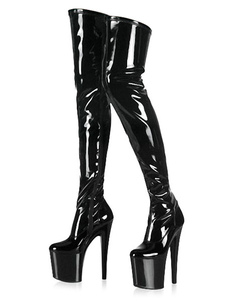 أسود مثير أحذية نسائية منصة اللوز خنجر كعب الفخذ أحذية عالية الكعب العالي فوق الركبة الأحذية2020