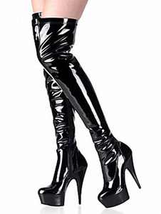 Negro Sexy Botas de Mujer 2020 Plataforma Almendra Botas de Tacón Alto Botas Sobre la Rodilla  Altas hasta Pierna