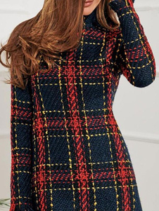 Vestido de manga comprida Bodycon xadrez xadrez Vintage High Collar Shaping Mini Dress