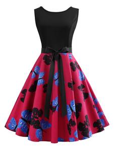 Vestido retro rojo sin mangas con cuello redondo y lazo con estampado de mariposa vestido retro