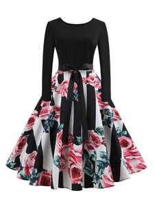 Vestido vintage preto longo slevee em torno do pescoço arcos vestido retro floral