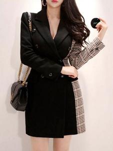 ブレザー ブラック  毛織物 トレンチコート レディースアウター 長袖 折り襟 ボタン バイカラー シック&モダン レディースファッション ポリエステル