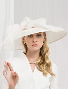 Disfraz Carnaval Sombrero retro mujer lino blanco crudo accesorios de pelo real Halloween Carnaval