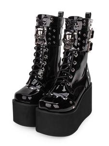 Botas góticas Lolita Hebilla metálica Remache Con cordones Plataforma con cremallera Negro Lolita Calzado