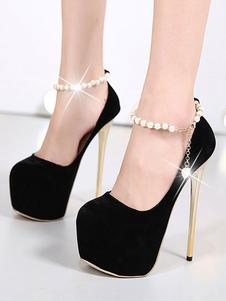 Negro Zapatos de Tacón Alto de Ante 2020 Plataforma Almendra Perlas con Correa de Tobillo Pumps de Mujer Zapatos Sexy