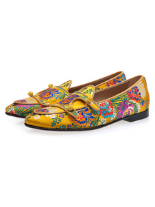 Mens Loafers Yellow Round Toe Leather Embroidered Slip On Casual Shoes